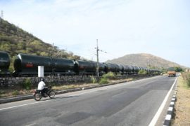 The wagon carrying about 50,000 litres of water to Chennai, crossing the Chennai Bangaluru National Highway in Ambur on Friday, July 12, 2019.